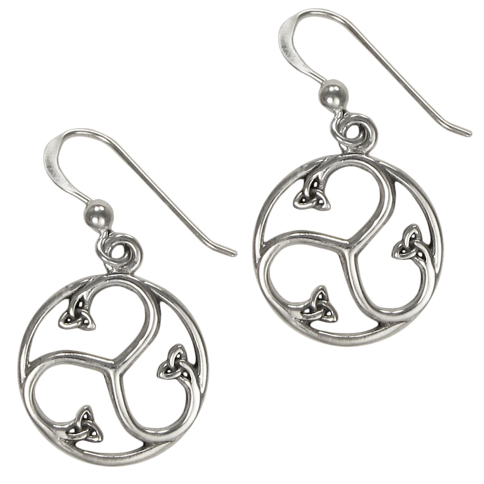 celtic knotwork earrings sterling silver celtic knot triskele earrings triskelion 4714