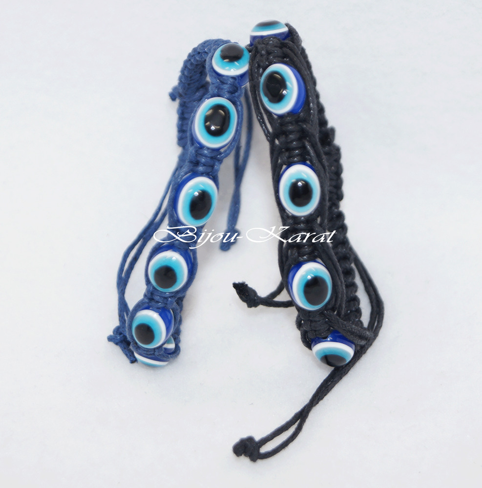 nazar perlen armband t rkisches magisches auge b ser blick evil eye schwarz blau ebay. Black Bedroom Furniture Sets. Home Design Ideas
