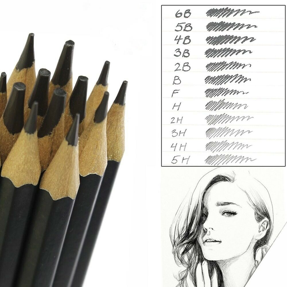 Details about set of 12 graded art sketching pencils in case hb drawing shades light dark uk