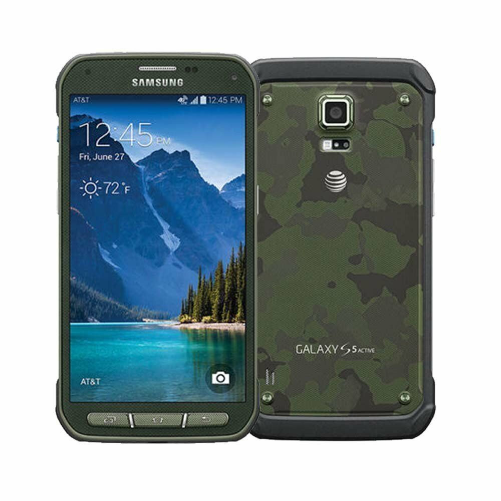 new unlocked samsung galaxy s5 active sm g870a 16gb camo green at t smartphone 887276043258 ebay. Black Bedroom Furniture Sets. Home Design Ideas