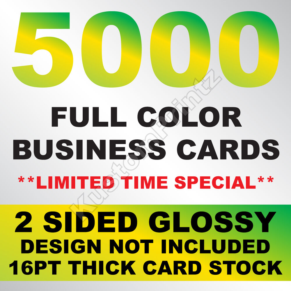 5000 FULL COLOR BUSINESS CARDS W/ YOUR ARTWORK READY TO PRINT - 2 ...