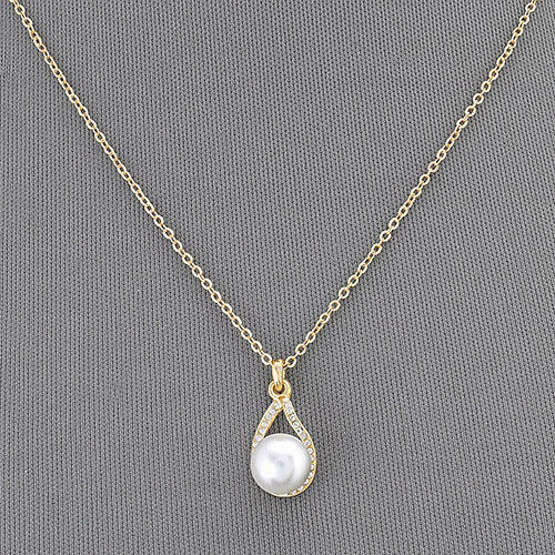 gold simple chain pearl small clear pendant