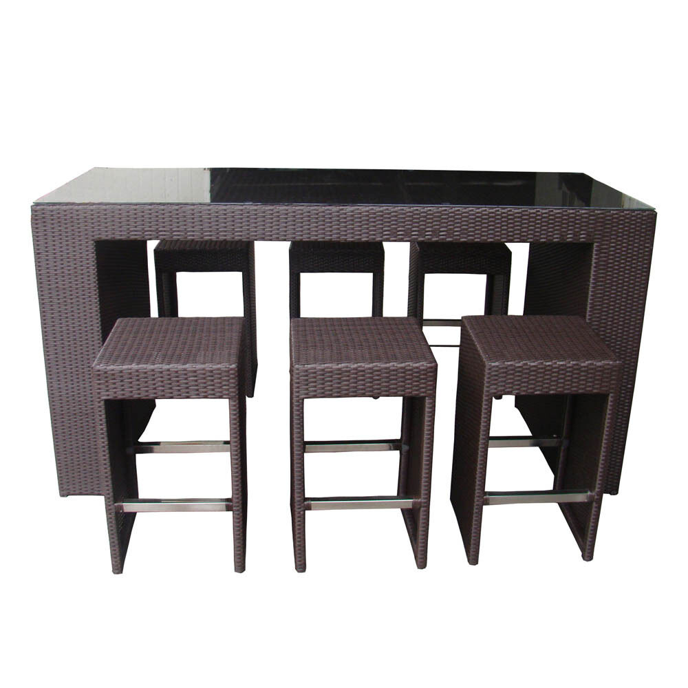 Outdoor wicker patio furniture 7 pc high top tall for High top dinette sets