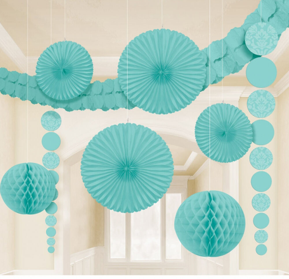 9 x aqua hanging paper party decorations fans honeycombs garland free p amp p ebay