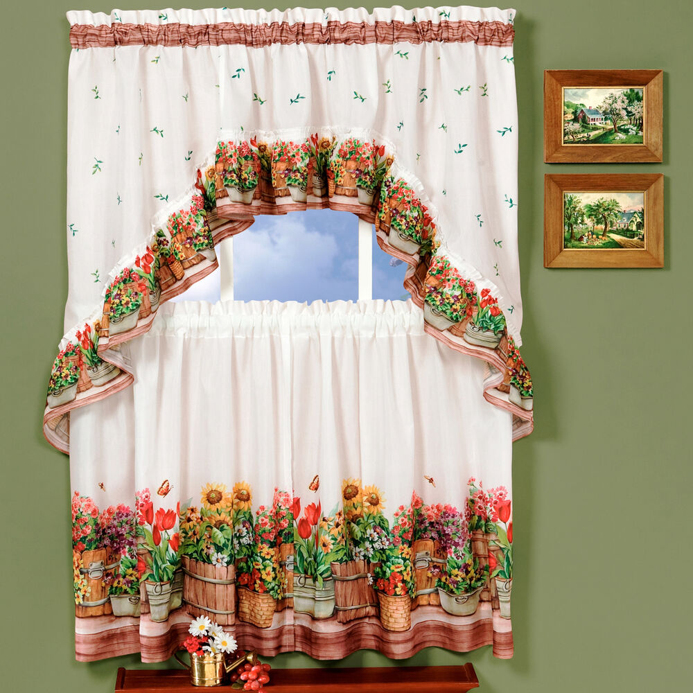 "Country Garden Flowers Kitchen Curtain 36"" Tier Pair & 30"