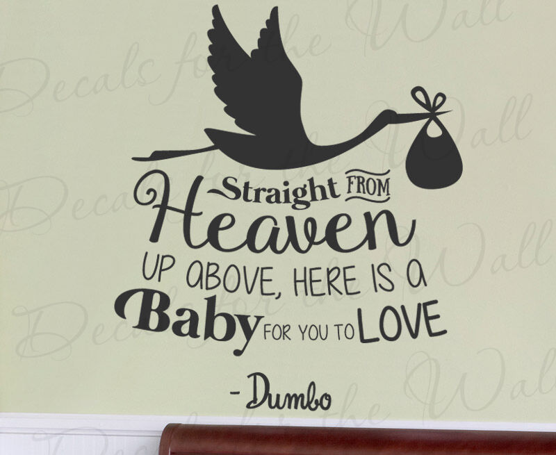 Straight From Heaven Baby Dumbo Disney Kids Wall Art Vinyl