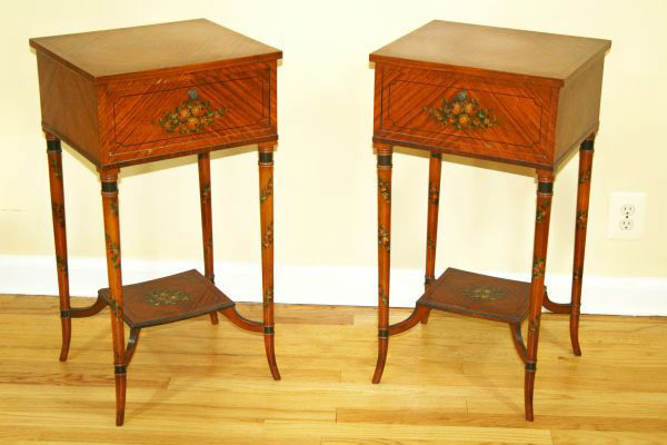 Antique adams wood hand painted brown accent side tables