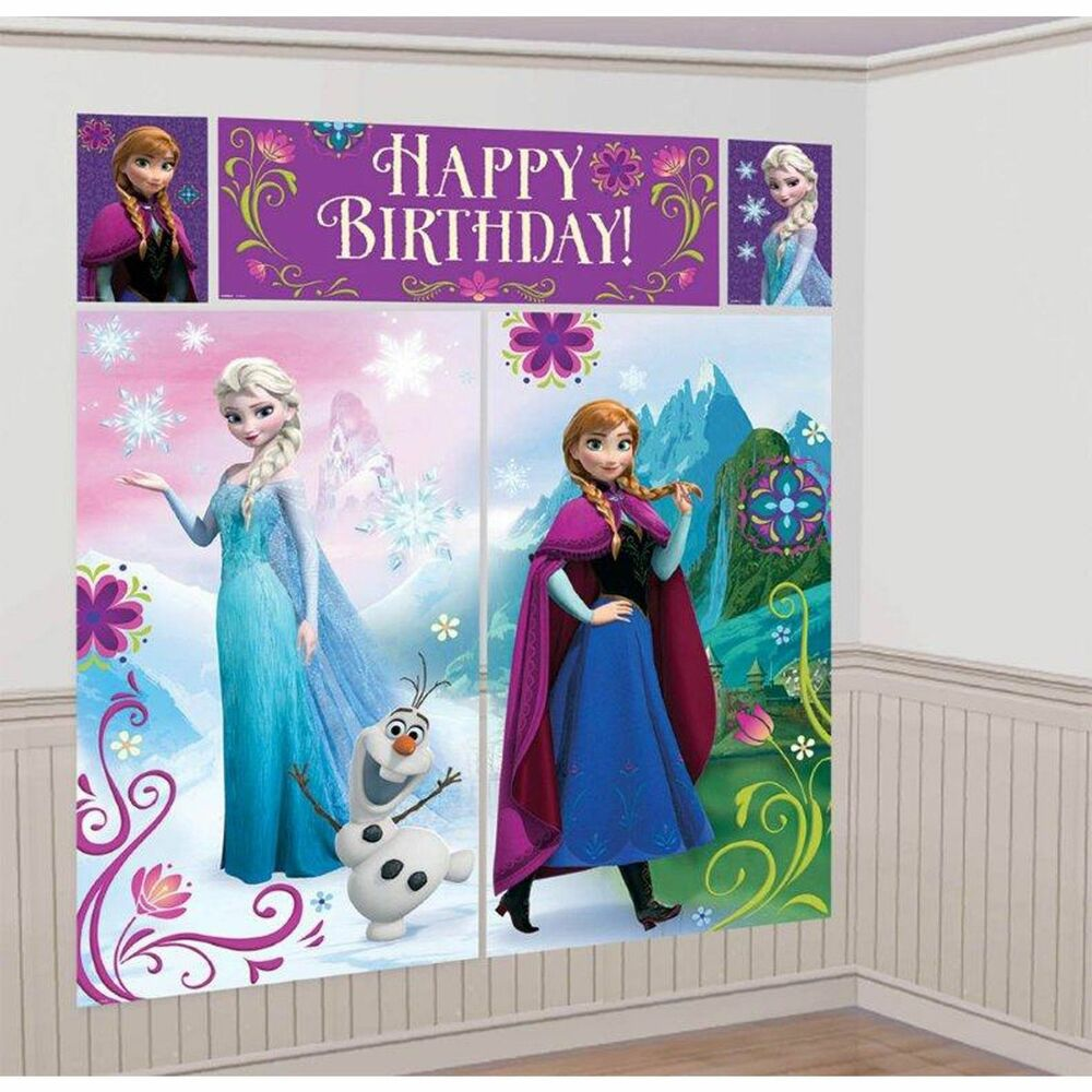 Disney frozen scene setter birthday party decorations wall banner princess kids ebay - Princess party wall decorations ...