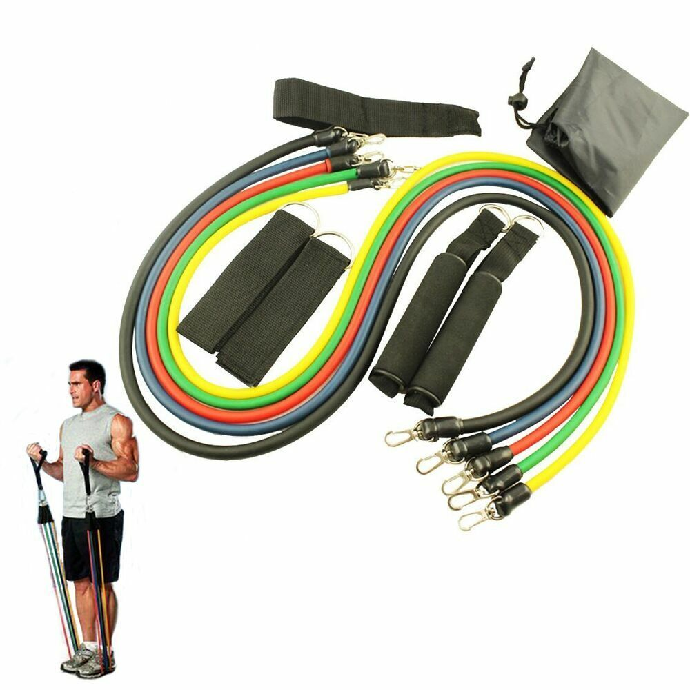 Workout Bands Com: 11 PCS Resistance Band Set Yoga Pilates Abs Workout