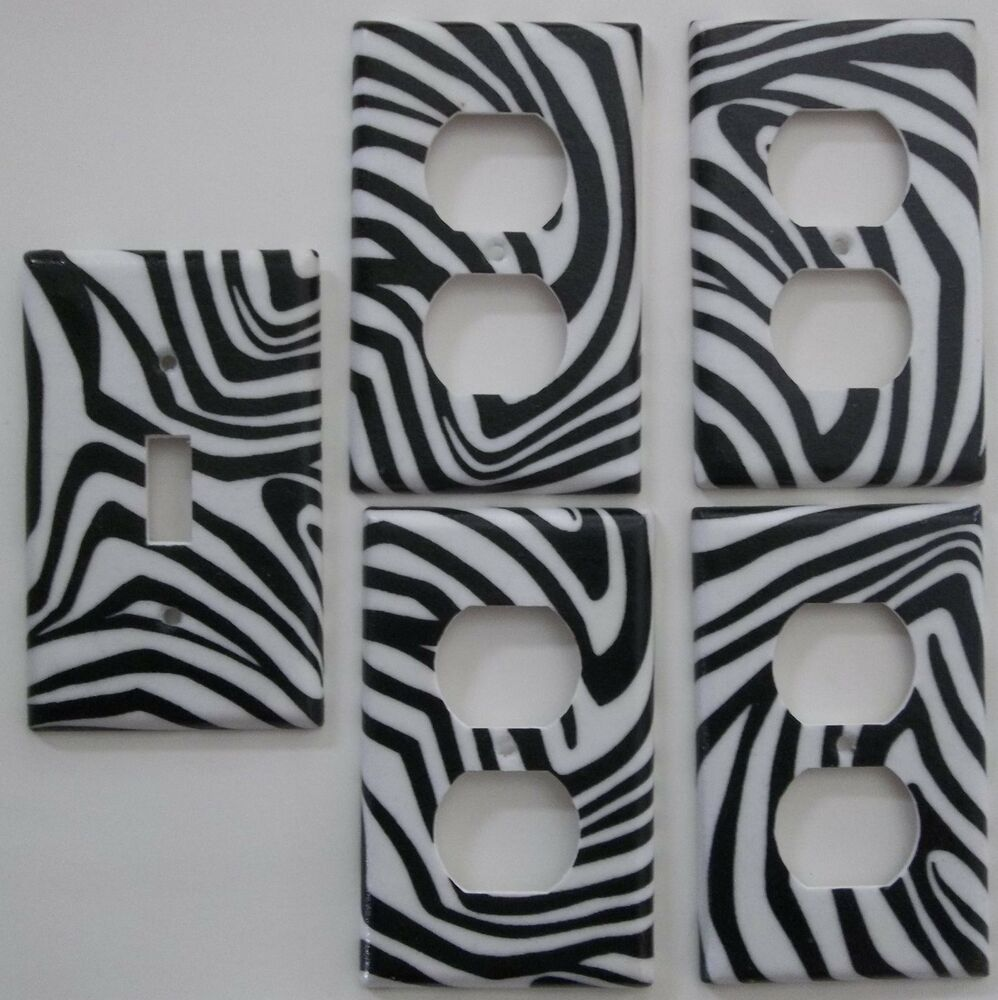 Zebra stripe print light switch cover girls bedroom for Zebra print and red bathroom ideas