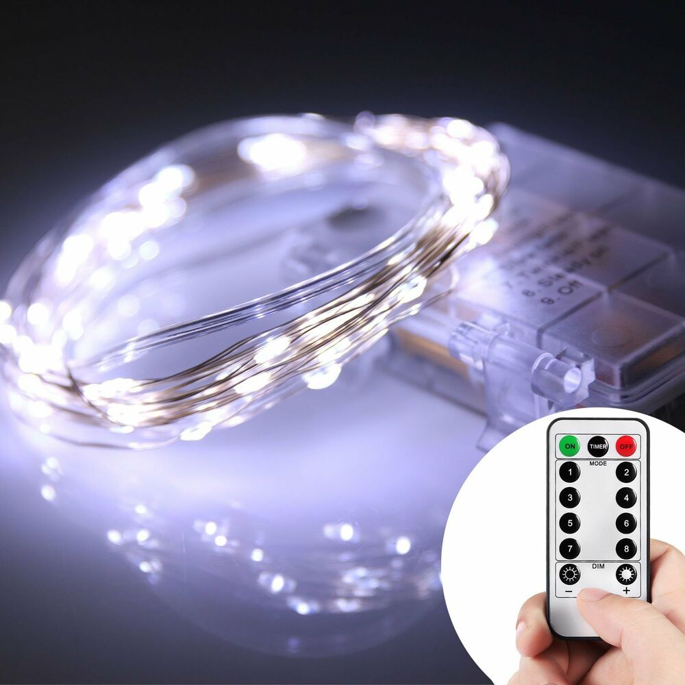 string led lights remote control battery indoor outdoor party home decor fairy ebay. Black Bedroom Furniture Sets. Home Design Ideas