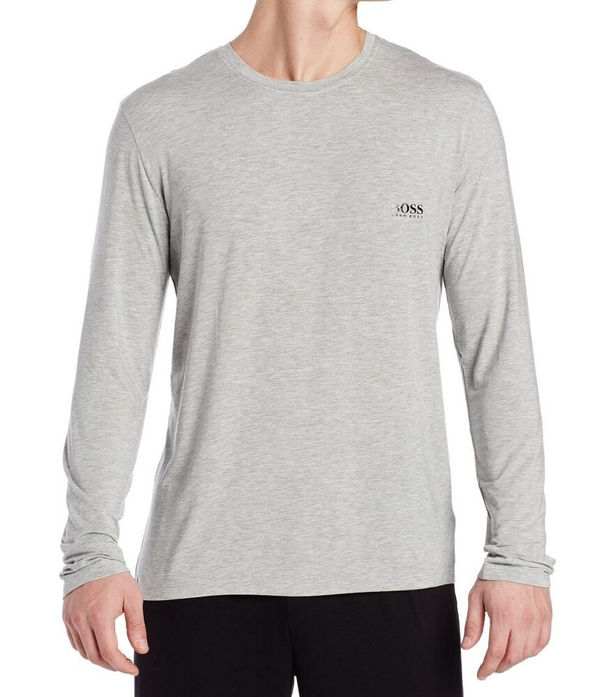 New authentic hugo boss long sleeve modal crew neck grey for Modal t shirts mens