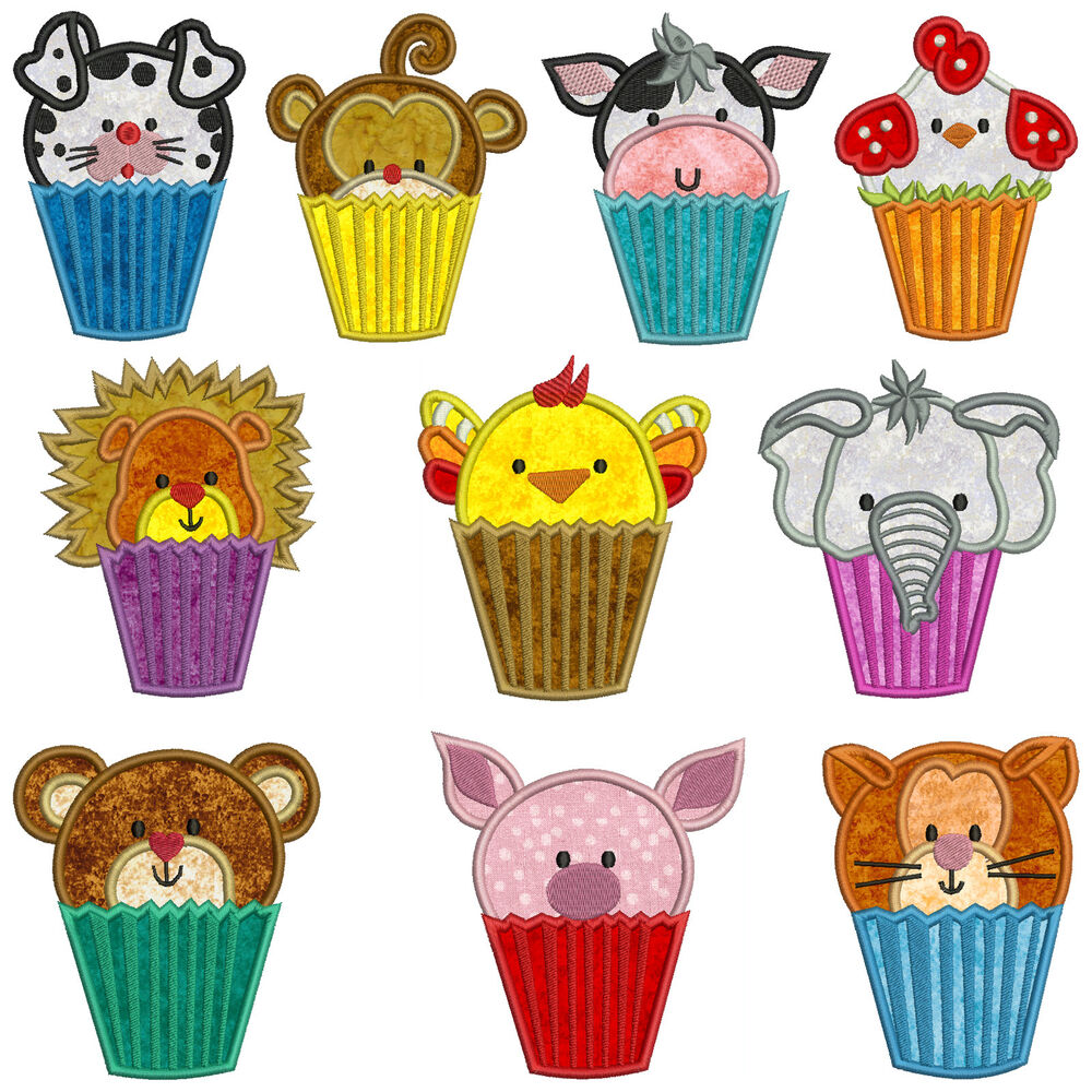 CUPCAKE ANIMALS * Machine Applique Embroidery Patterns ...