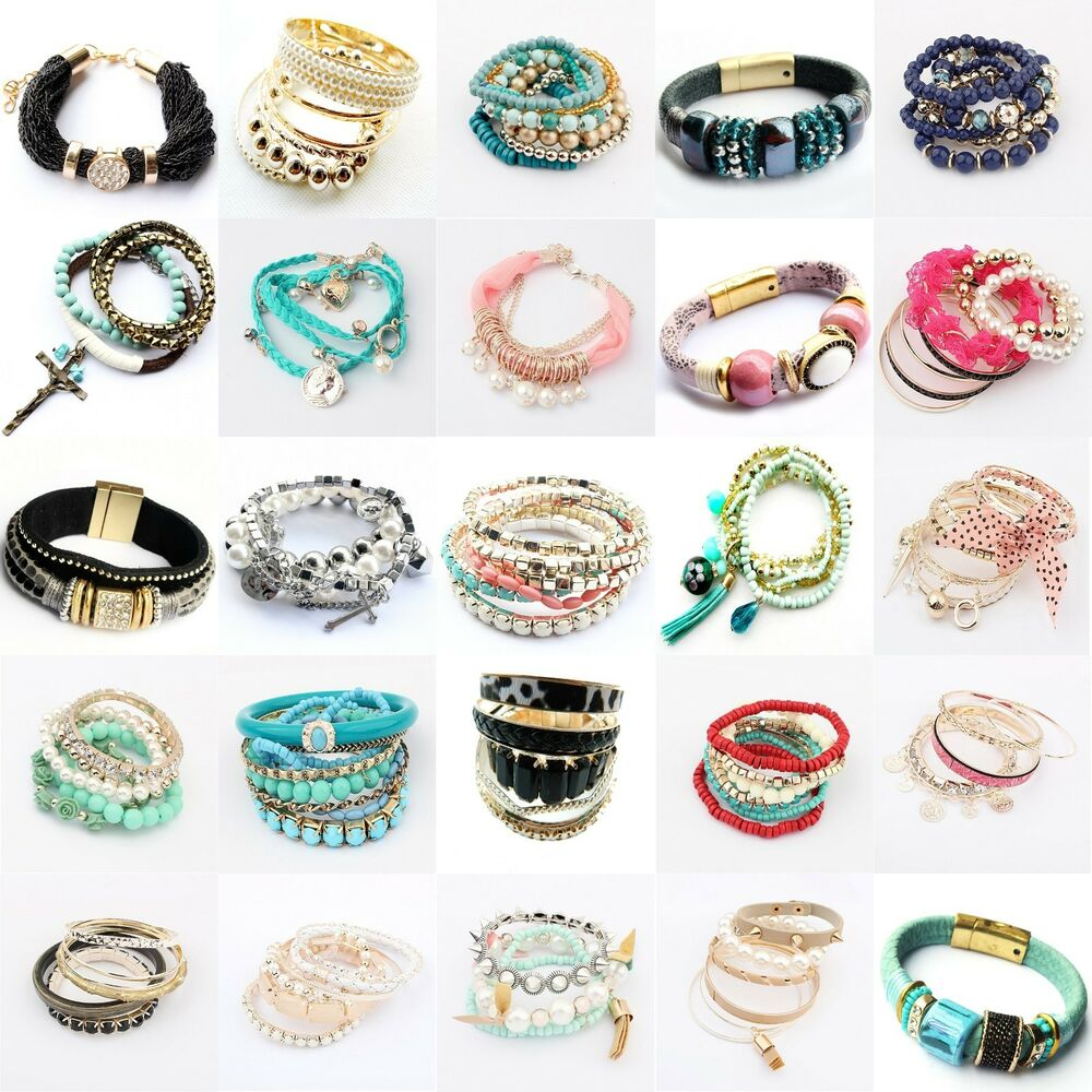 New Charm Bracelets: Fashion Women Lots Style Bracelet Rhinestone Bangle Charm