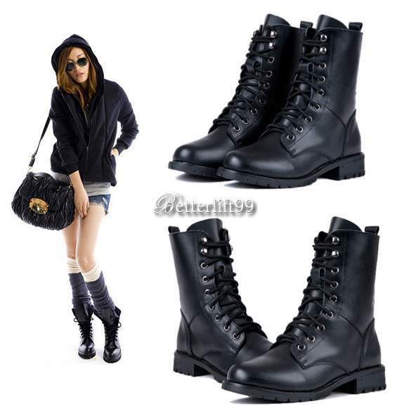 bf9 women ankle booties military combat boots lace up cowboy fashion dress shoes ebay. Black Bedroom Furniture Sets. Home Design Ideas