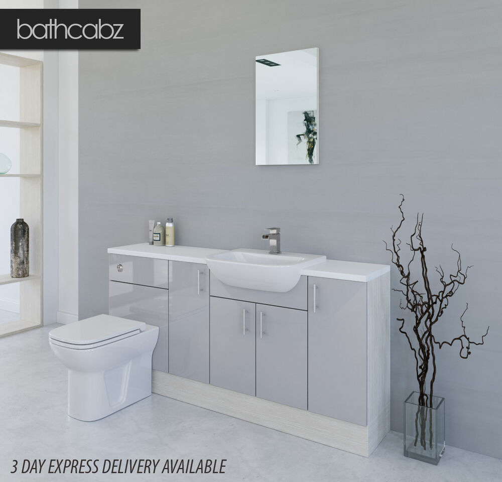 Grey Bathroom Furniture Uk: LIGHT GREY / WHITE AVOLA BATHROOM FITTED FURNITURE 1700MM