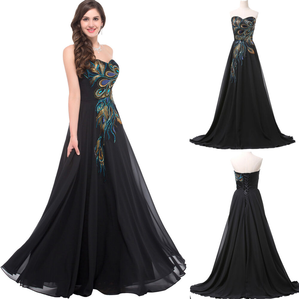 Plus size peacock long evening dress party bridesmaid prom for Evening gown as wedding dress