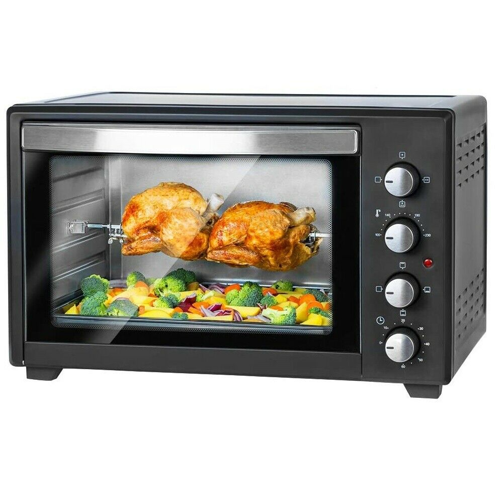 45 liter 2000 watt mini backofen mit drehspie und umluft minibackofen pizzaofen ebay. Black Bedroom Furniture Sets. Home Design Ideas