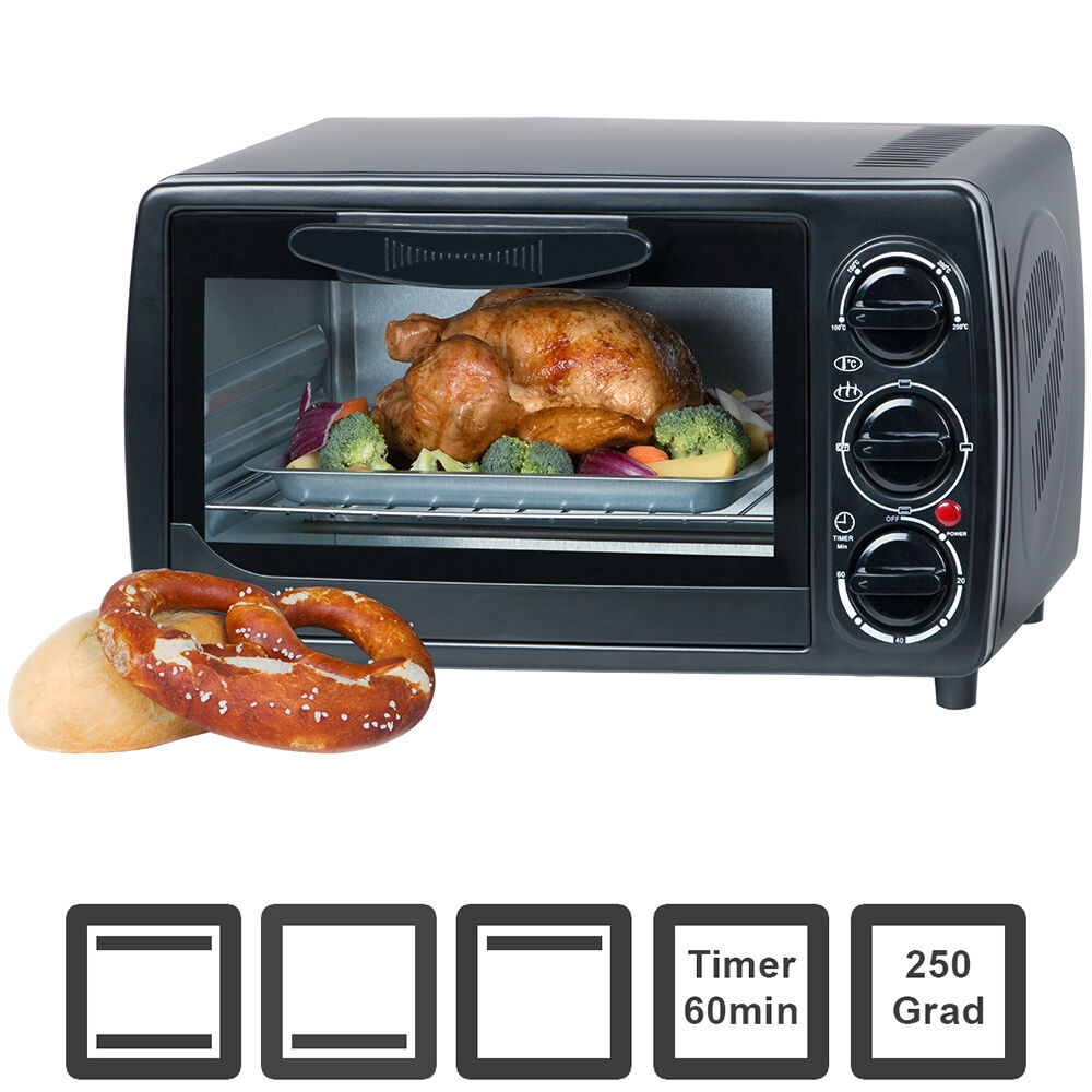 12 l minibackofen 1000 watt backofen mit timer mini ofen bis 250 grad oberhitze ebay. Black Bedroom Furniture Sets. Home Design Ideas