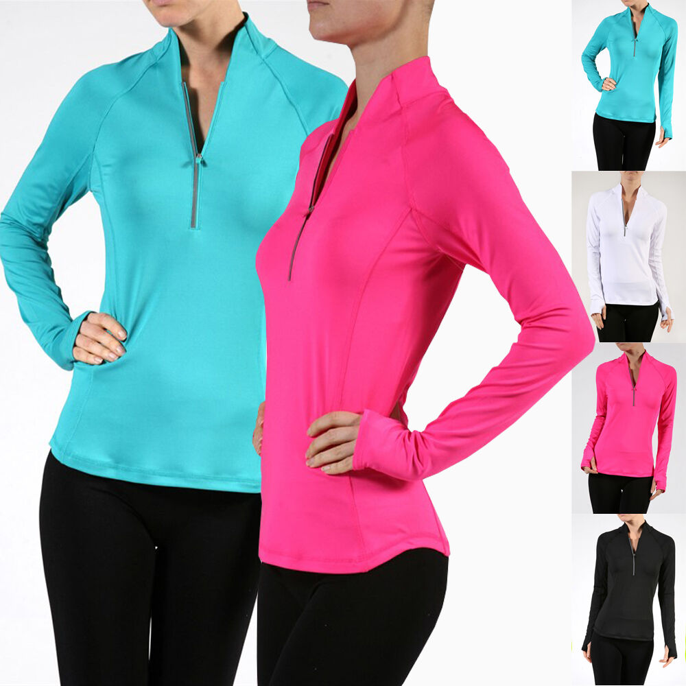 Women Solid Long Sleeve Zipper Front Athletic Pullover ...