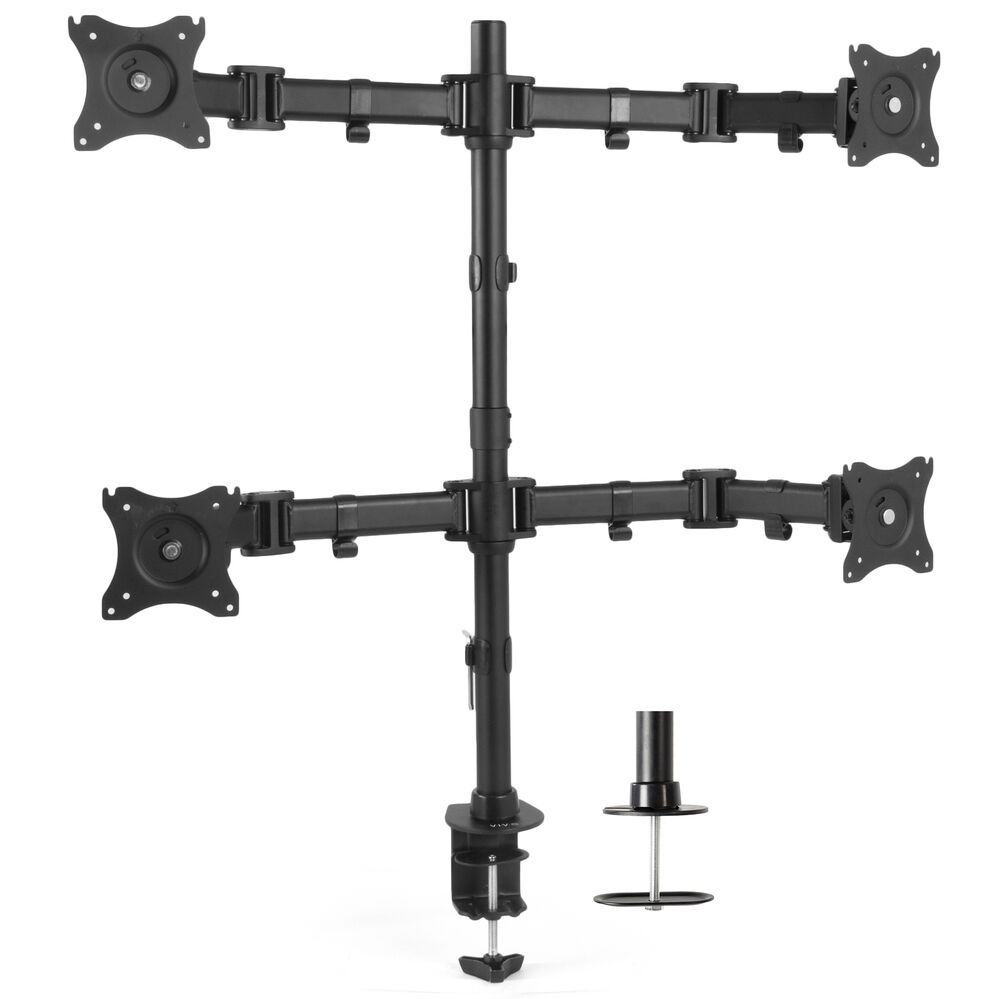 Quad Monitor Fully Adjustable Heavy Duty Desk Mount Stand