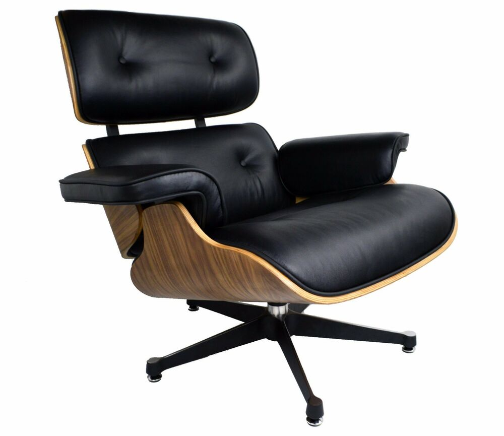 Black Leather Lounge Chair And Ottoman Walnut Wood Inspired By Charles Eames