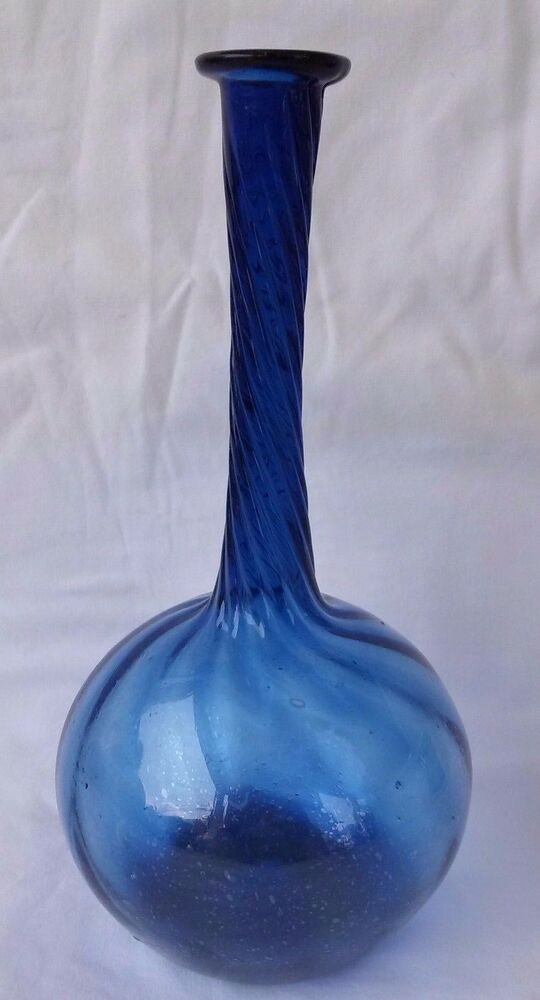 Antique 19th C Cobalt Blue Long Necked Twisted Vase Hand Blown Ebay