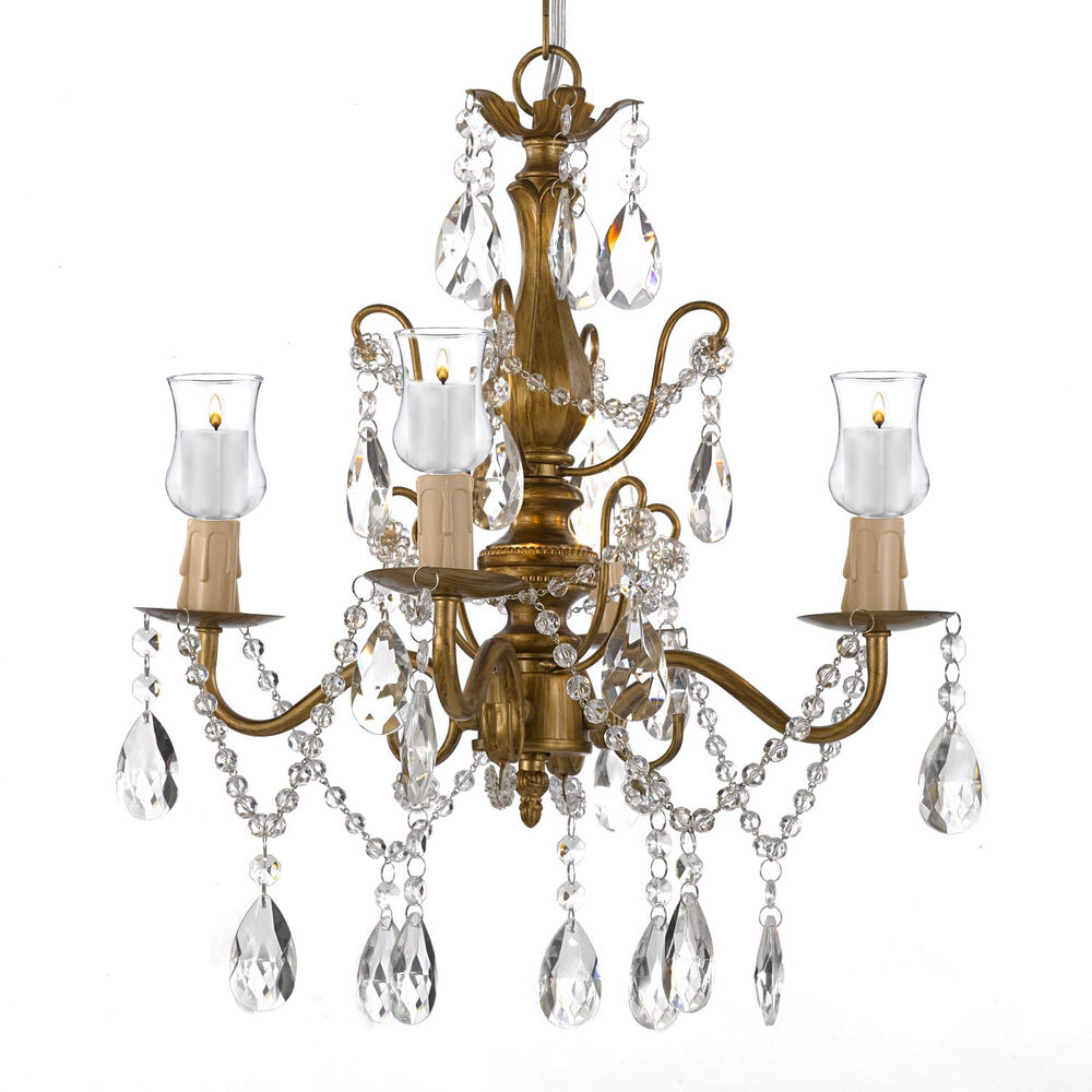 Iron crystal gold chandelier lighting w candle votives Crystal candle chandelier