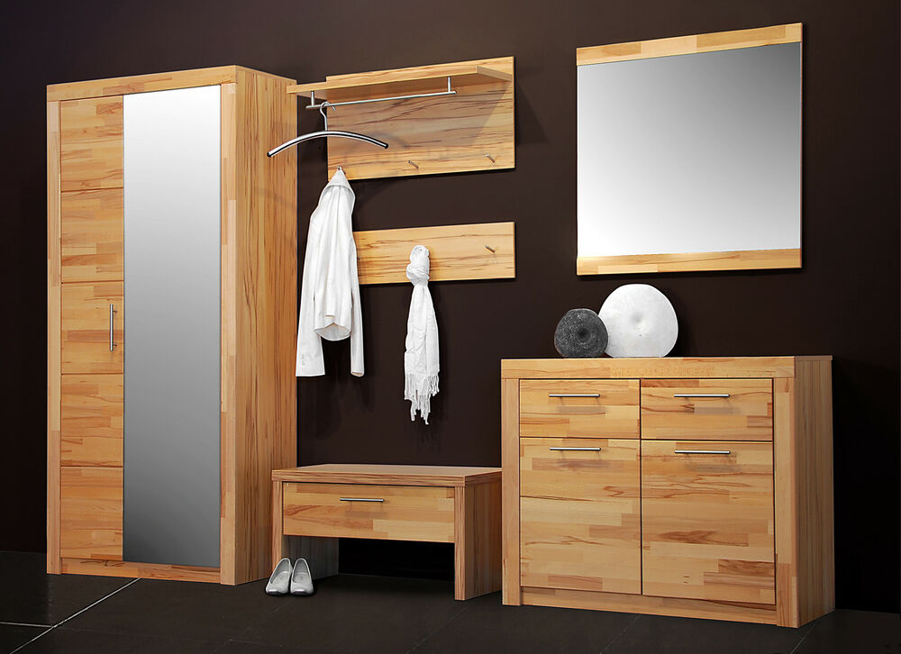 garderobe 7154 kernbuche teil massiv set diele flur spiegel kommode schrank ebay. Black Bedroom Furniture Sets. Home Design Ideas