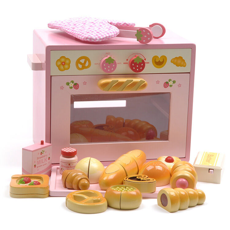 toy kitchen food accessories pink wooden pretend play kitchen food bread oven 6316