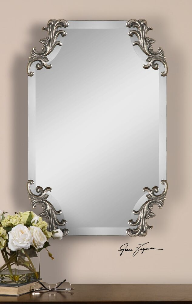 29u0026quot; FRAMELESS BEVELED WALL MIRROR DECORATIVE CORNERS CONTEMPORARY ...