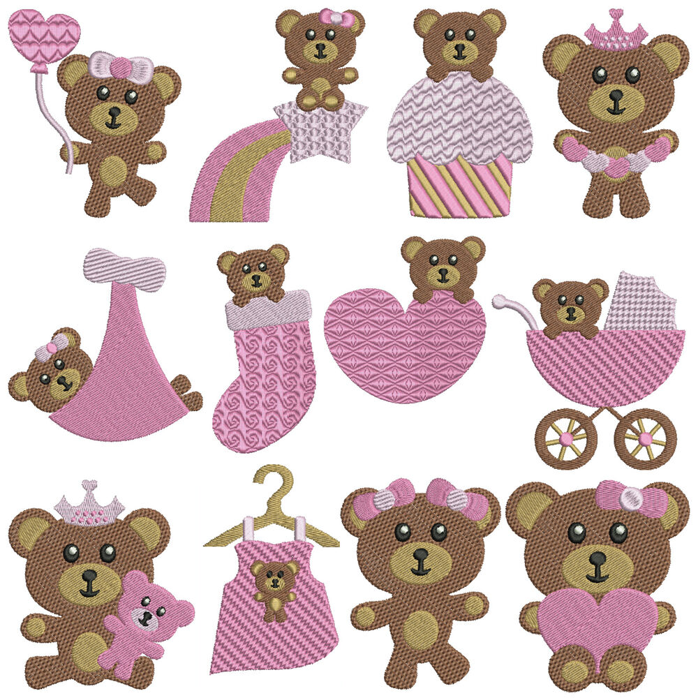 Baby bears girl machine embroidery patterns designs