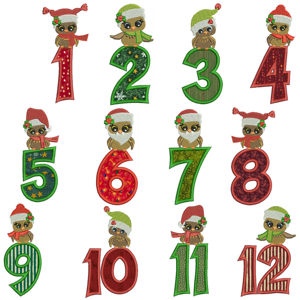 Christmas owls numbers machine applique embroidery