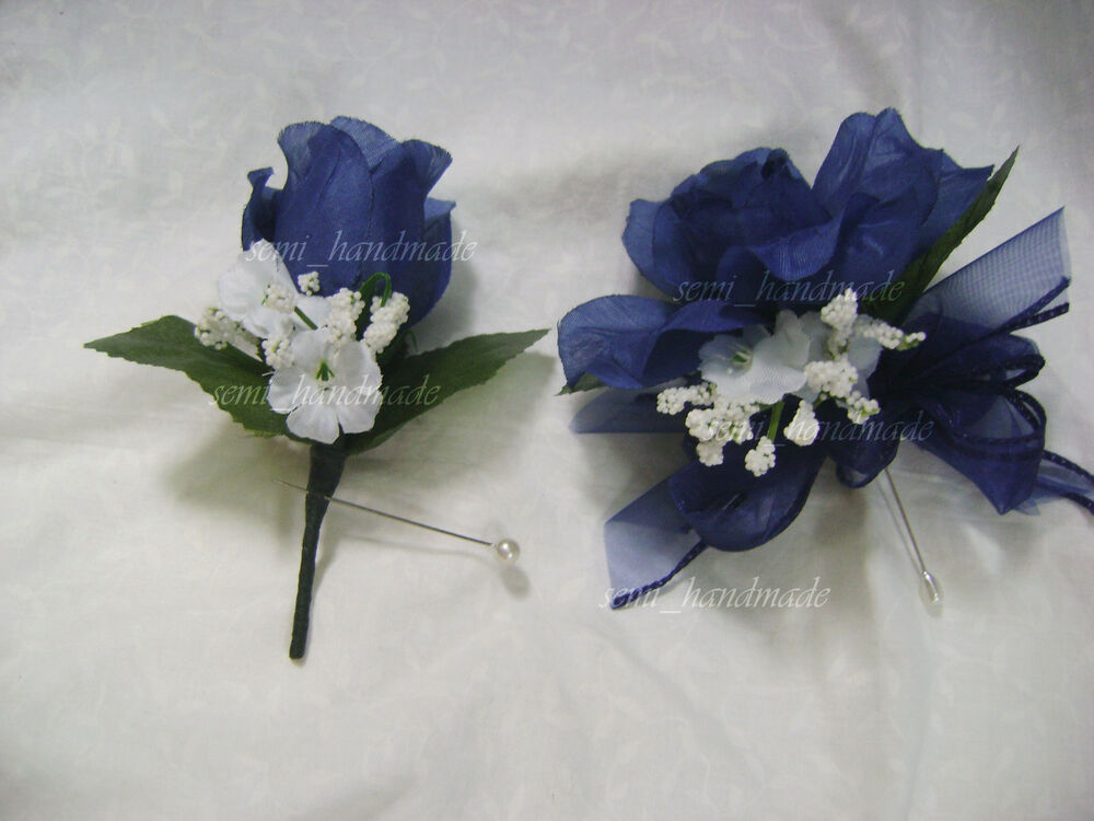 Navy Blue Open Rose Pin Corsage*Boutonniere*wedding*Prom