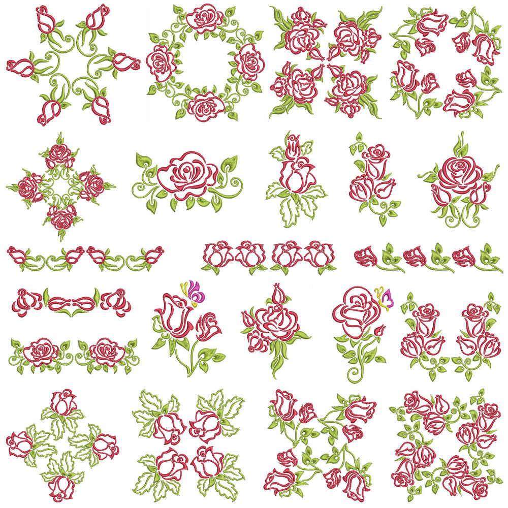 Satin roses machine embroidery patterns designs