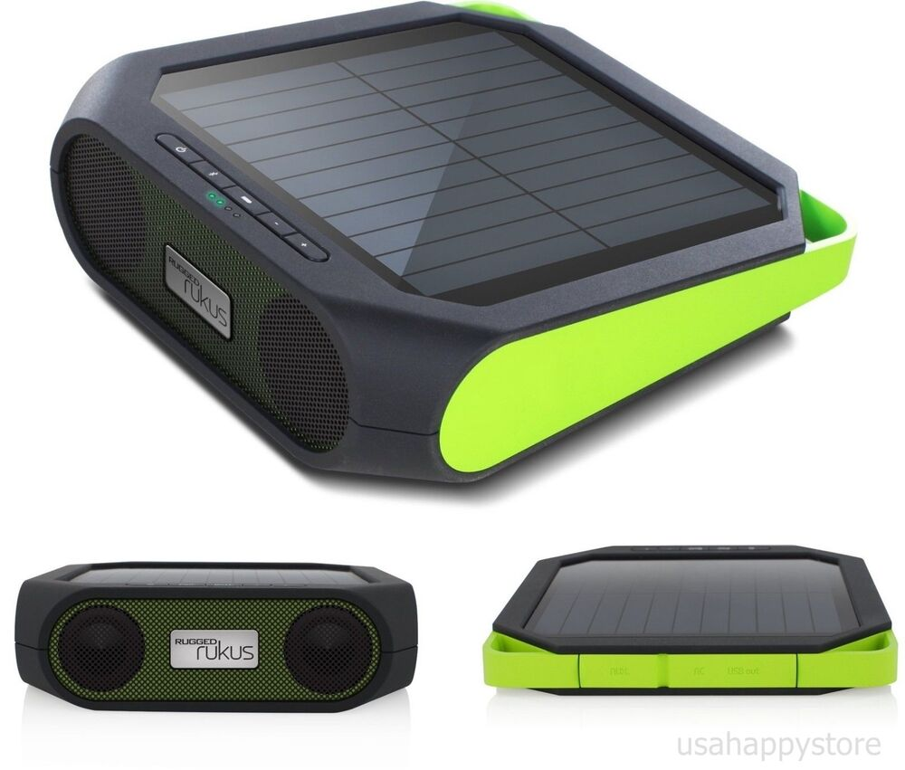 portable speakers bluetooth solar smartphone charger usb travel camping music ebay. Black Bedroom Furniture Sets. Home Design Ideas