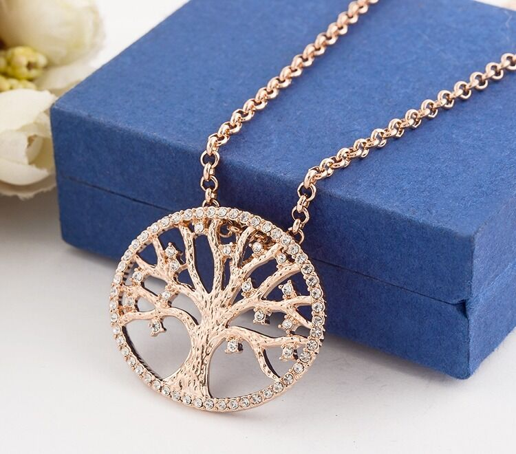 18K Rose Gold Filled Tree of Life Inlay Crystal Charm ...