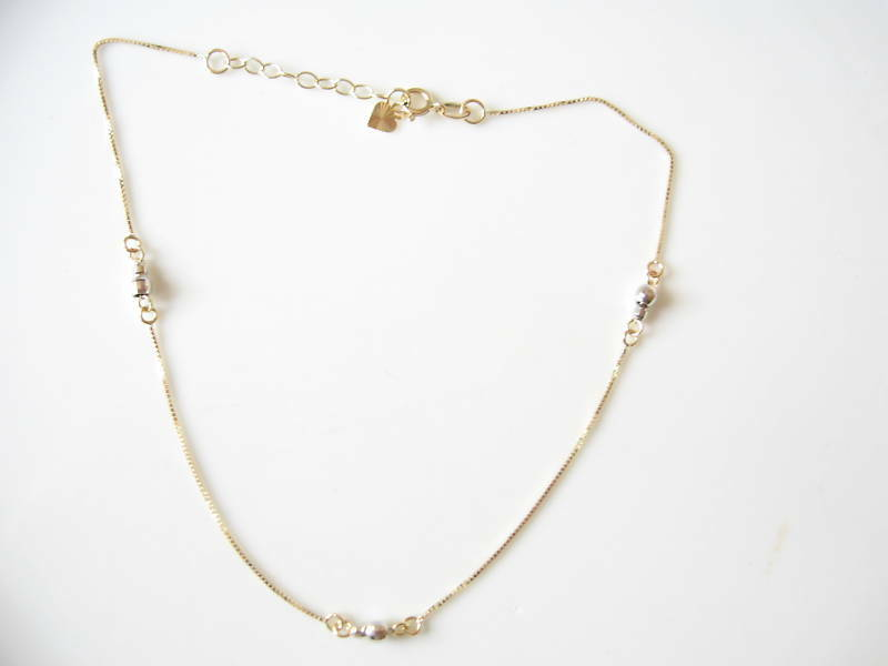 14kt yellow white gold mirror bead link chain anklet ebay for White and gold mirror