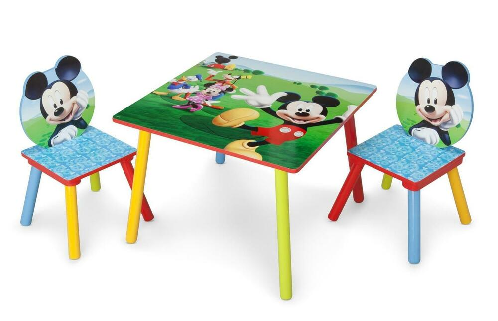 Kids table and chair set mickey mouse wood children for Childrens table