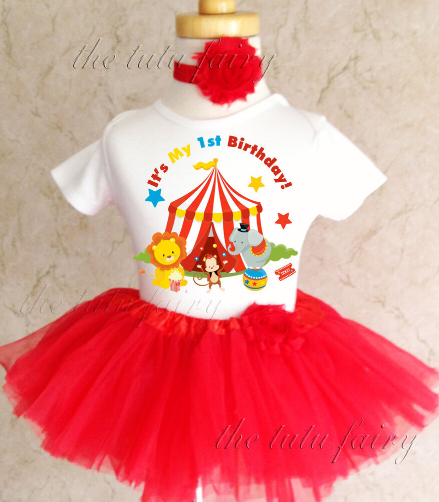 Birthday Party Outfit: Circus Red Blue Yellow Baby Girl 1st First Birthday Tutu