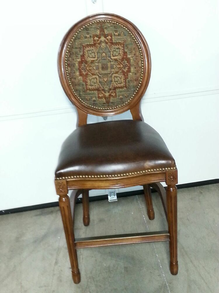Frontgate Langston Bar Counter Height Chair Leather