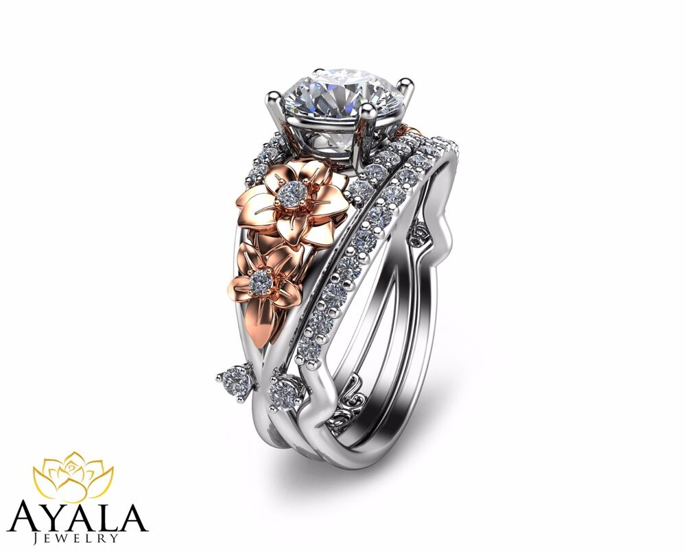 two tone wedding rings two tone engagement ring set unique bridal set 8144