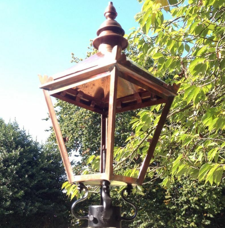 Large Traditional Copper Victorian Post Lantern Lamp Garden Street Light Top