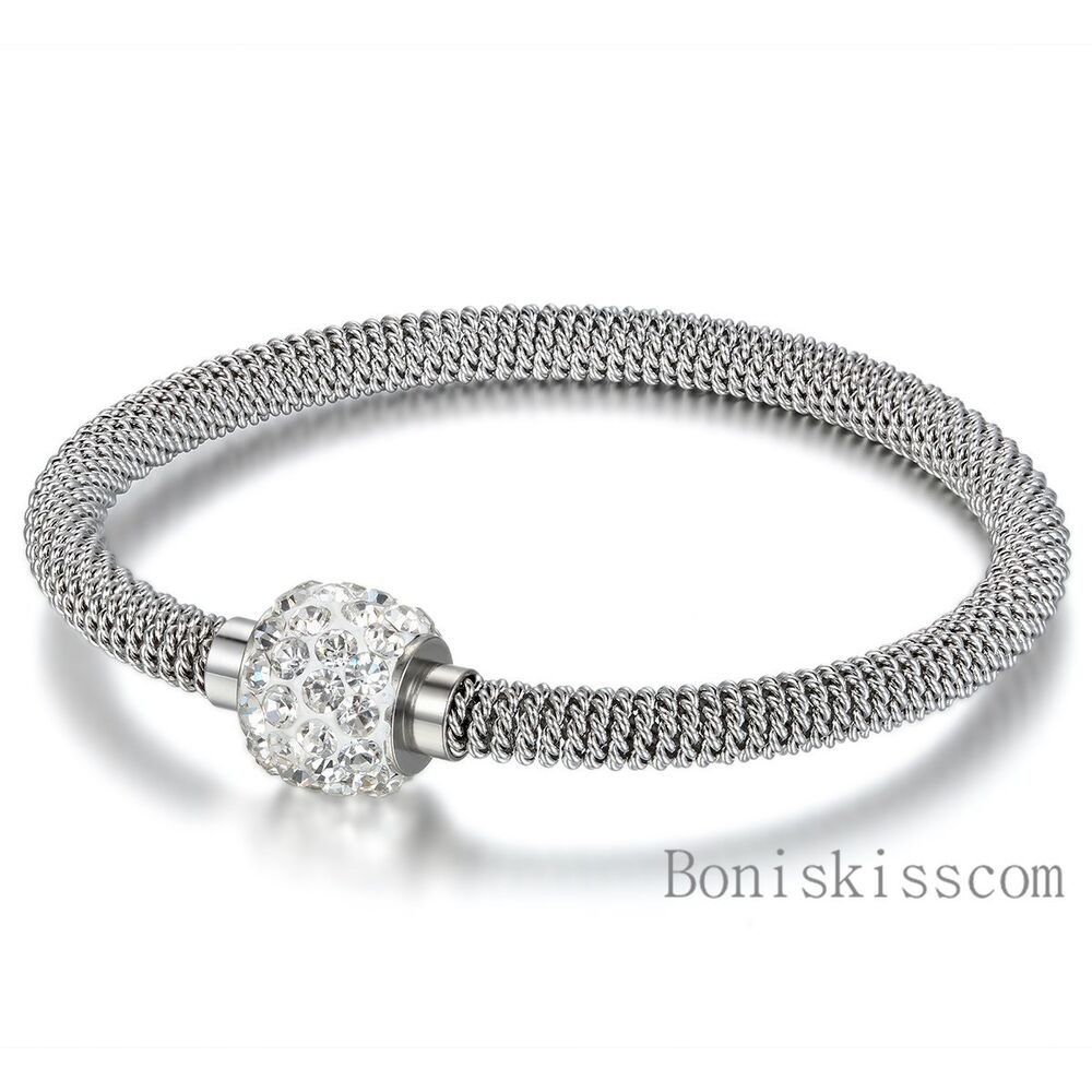 Stainless Steel Bracelet Charms: Silver Stainless Steel Magnetic Clasp Cable Mesh Wire