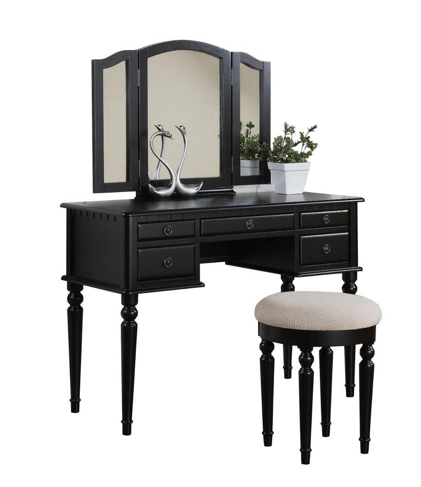 Vanity Makeup Set Table Stool Folding Mirror Drawer