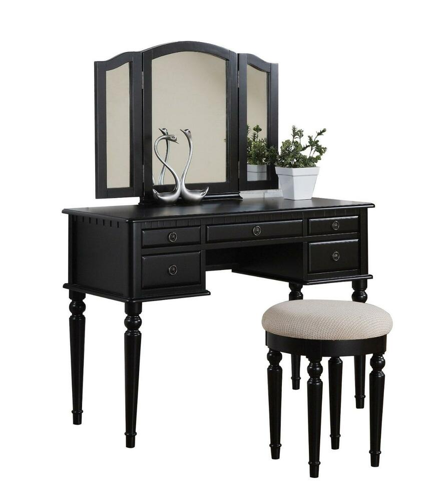 Vanity makeup set table stool folding mirror drawer dressing furniture wooden ebay - Stool for vanity table ...