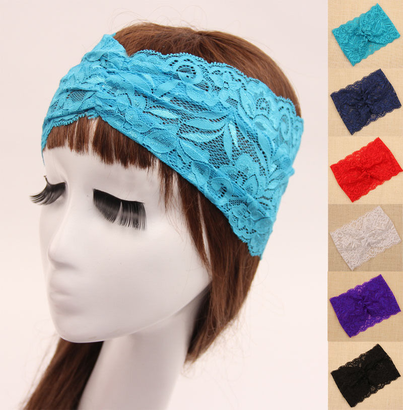Crocheting Over A Hair Band : ... Stretch Hair Band Crochet Floral Hoop Headband Knit Head Wraps eBay