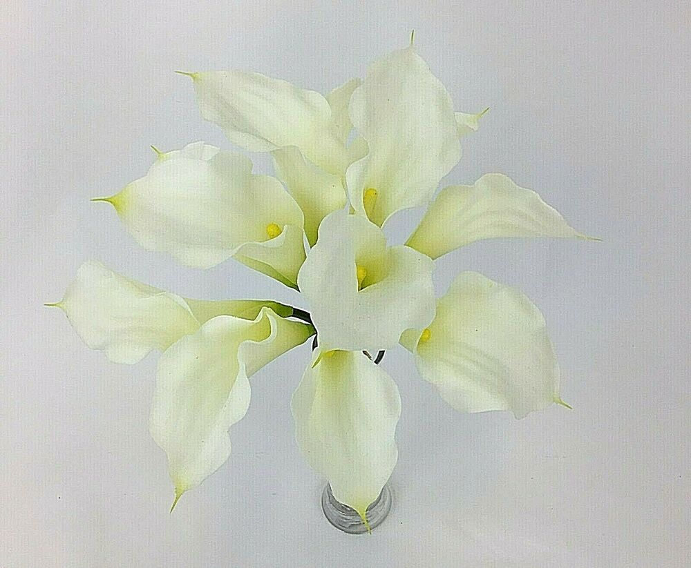 Cream Calla Lily Bridal Bouquet : Real touch latex cream calla lily flowers wedding flower