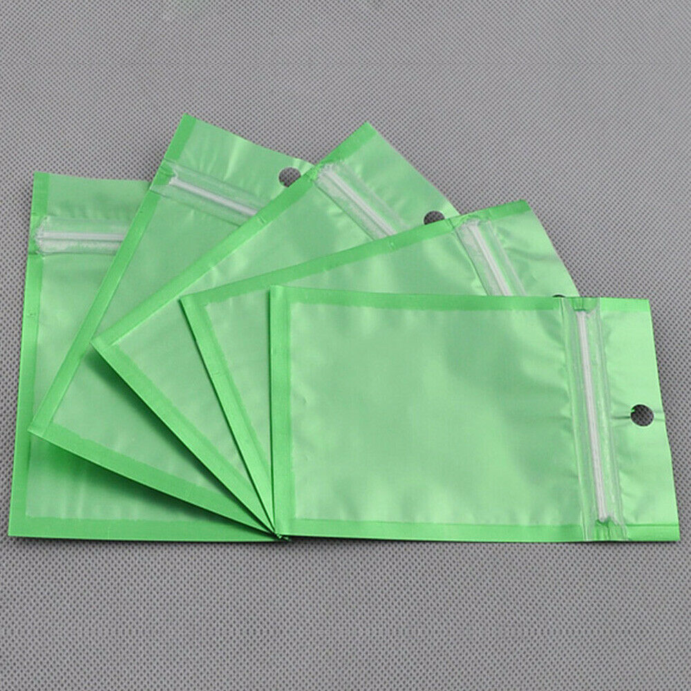 100 flat clear green silver zip lock bags w hang hole in a variety of sizes ebay. Black Bedroom Furniture Sets. Home Design Ideas