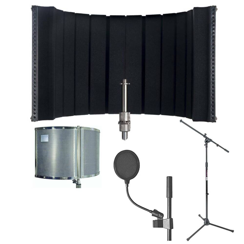 new cad audio as22 acoustic shield for microphone with pop filter and mic stand ebay. Black Bedroom Furniture Sets. Home Design Ideas